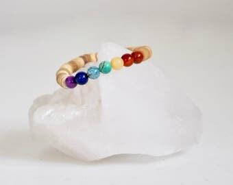 Bracelet / Chakra Stones + Natural Coconut Shell Bracelet / Blacktop / Chakra Bracelet / 7 Chakras