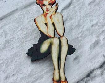 Lolita Pinup Girl Brooch Pin