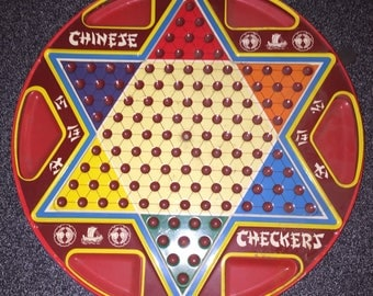 Chinese Checkers Board Vintage 1960s-70s Ohio Art No 538 2 in 1 Metal Toy Set Tin Double Sided Board w Orig Box