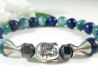 Jade & Lapis Buddha Bracelet with Hematite, Yoga Bracelet, Jade Bracelet, Blue Lapis Lazuli Gemstone Bracelet, Meditation Healing Bracelet