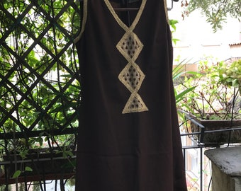 Vintage 1960s gold and brown silk evening dress by Carole Pierre - Paris