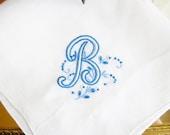 Vintage Wedding Hankerchief Monogram Letter B In Blue And White/Embroidered Hankie/Something Blue/Mother of The Bride/Keepsake Hankie
