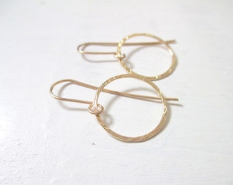 Gold hoop earrings, boho chic earrings, gold circle earrings, gold earrings, elegant jewelry, gold filled earrings