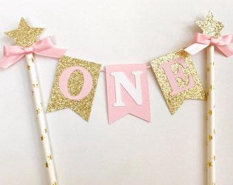 One Cake Topper, Star Cake Topper, One Smash Cake topper, pink & gold one cake topper, first birthday cake topper, one cake topper gold