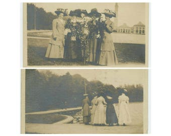Set of 2 Vintage Snapshot Photos: A Day Out, Early 1900s (73557)