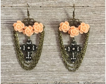 Frida Kahlo Inspired Rose and Cross Earrings