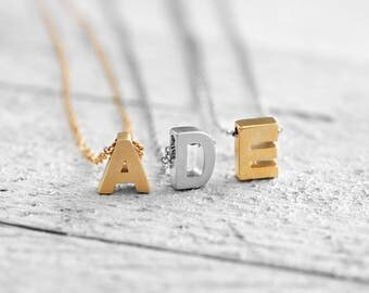 TINY INITIAL Necklace with Initial   silver