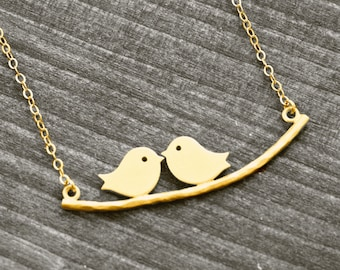 LOVE BIRDS necklace with bird on branch | gold