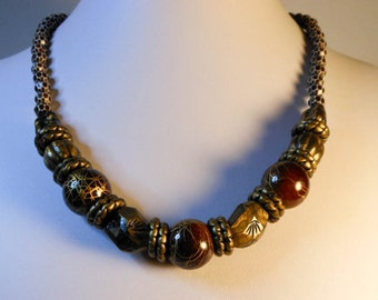 Tribal Beaded Wood Necklace  23 Inch