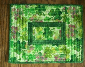 St. Patrick's Day Place Mats, Quilted Cotton Place Mats, Set of 4 Place Mats, Mug Rugs