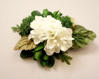 Bridal Hair Clip, Greenery Wedding, Forest Wedding, Natural Hairpiece, Flower Girl Hair Clip, Woodland Hairpiece, White Hair Clip