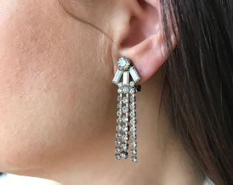 Vintage 50s Rhinestone Dangle Earrings