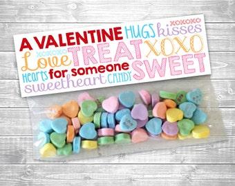 Printable Valentine Treat Bag Toppers, Editable Sweet Treat Bag Labels, INSTANT DOWNLOAD, printable digital file