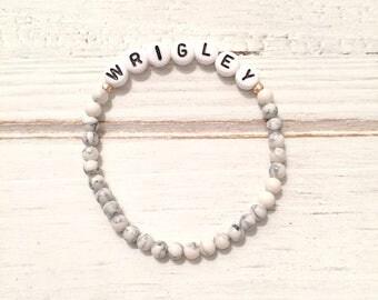 White howlite Custom name or Word bracelet