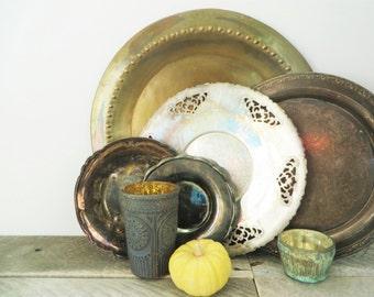Vintage Silver Trays - Collection of 5 - Patina - Elegant Boho Decor