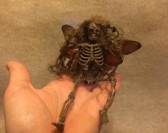 Dead Fairy Goth art doll miniature Halloween skeleton pixie dollhouse cicada wings Renaissance faire ooak costume accessory