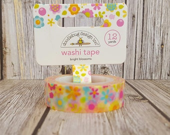 Bright Blossoms Doodlebug Design Inc. Washi Tape - 12 Yards - Flower Blossom Decorative Trendy Paper Packaging Tape