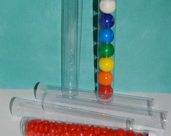 "Clear plastic tubes with caps 7""x1"" - Qty 50 - use for storage - party favors - shower favors - 1"" gumball tubes - quick and easy gifts"