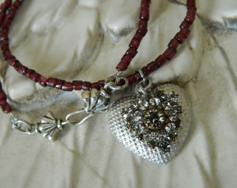 SALE 15% coupon code MARCH15 Sterling Silver Heart on Garnet Chain Necklace by 58diamond
