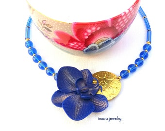 Blue Necklace, Orchid Necklace, Statement Necklace, Flower Necklace, Blue Jewelry, Blue Orchid, Floral Necklace, Wedding Jewelry, Women Gift