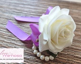 Wrist Corsage, Elegant White Rose corsage, White and Purple Corsage