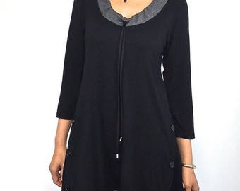Scrunch Neck Tunic Top - Cotton Top Yoga Wear Black Blouse S M L