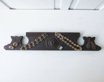 "Jewelry Display Board 23"" - Architectural Salvage Bracelet / Ring / Necklace / Earring Display - Jewelry Photo Prop - Dark Wood"