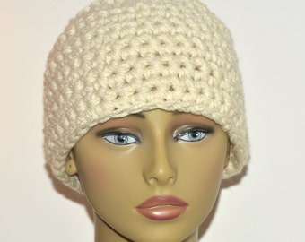 Chunky adult messy bun hat in cream / aran , Winter accessory , Gifts under 20 , Gifts for her , Ready to ship