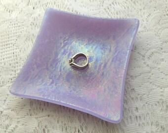 Fused Glass Dish, Iridescent Lavender Art Glass Ring Dish, Decorative Glass Tray