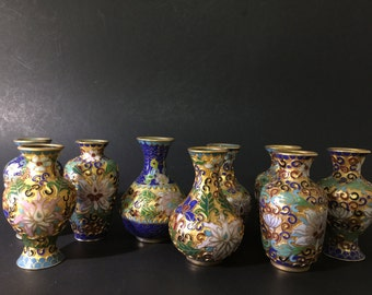 Vintage Set of 9 Small Enamel Cloisonne Vases Chinese