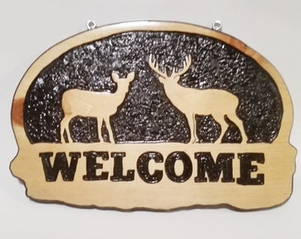 Deer Wood Sign, Carved Wood Sign, Deer Welcome Sign, Carved Welcome Sign, Welcome Sign, Buck and Doe, Carved Deer, Wood Sign, Wood Carving