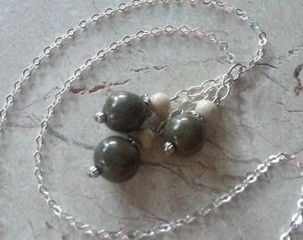 Memorial Bead Pendant or Necklace - Custom Keepsake Stoneware Pottery Pet Cremains Jewelry - TWISTED REEF Trio Drop Pendant