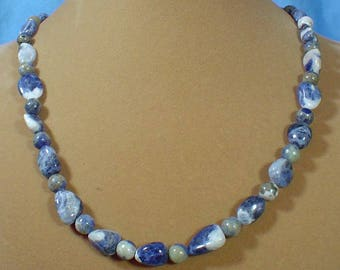 """20"""" Polished Sodalite nugget necklace - N491"""