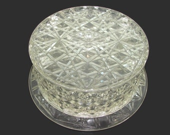 Clear Cake Carrier, Diamond Pattern Acrylic Cake Server, Plastic Pie Plate Platter, Lucite Cup Cake Saver