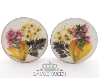 "Real Flower Arrangement Plugs / Gauges. 1"" / 25mm"