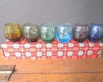 Mid Century Shot Glasses Sake Glasses Barware Scotch Plaid Box