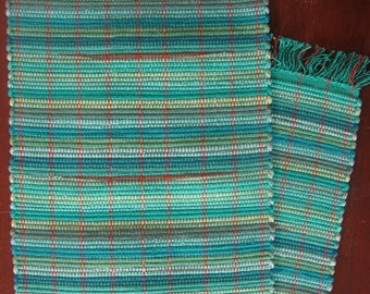 "Sea Green 12"" x 54"" Table Runner with hints of Burnt Orange Handwoven in Nicaragua"