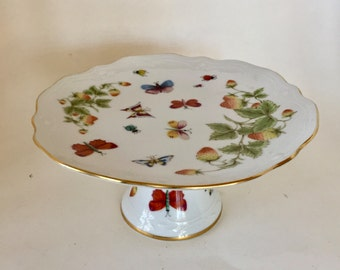 Dessert Stand / Vintage White Porcelain Scalloped Edge Dessert Stand w/Butterflies JAPAN