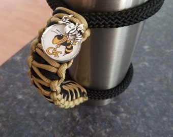 RTIC/YETI Tumbler Handle in GA Tech with Tag and charm