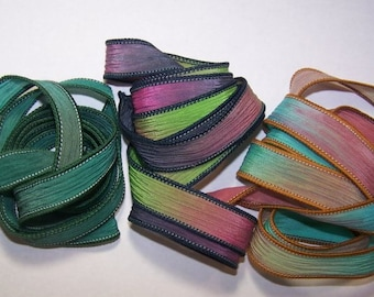 3 Pack Special Sale/Silk Ribbons/Hand Dyed/Wrist Wraps/Sassy Silks/Ready to Ship/ See Description for Details/101-0412
