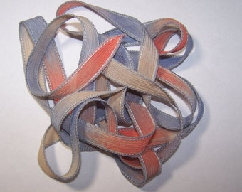 Sahara Hand dyed Silk Ribbon/ Wrist Wraps/Crinkle Silk/Ribbon Crimps/Findings/Jewelry Supplies/Special Sale Lots/Crimp Covers/Beads/Leather