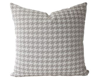 Decorative Designer Houndstooth, Grey, Taupe, Pillow Cover, 18x18, 20x20, 22x22 of Lumbar Throw Pillow
