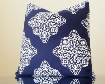 Navy pillow cover  geometric trellis,  Moroccan tile print, variety sizes available
