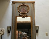 19th CENTURY ANTIQUE  FRENCH Trumeau Mirror with Oil Painting of Woman and Children
