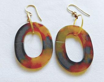 Vintage Oval Bakelite Pierced Hoop Earrings With Gold Accents