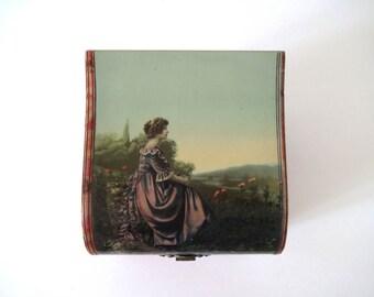Antique Victorian Dresser Box / Collar Box with Landscape Portrait