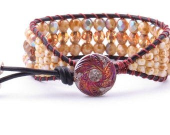 Amber Beaded Leather Cuff Bracelet Boho Chic Amber Beaded Bracelet Handmade Jewelry Single Wrap Bracelet