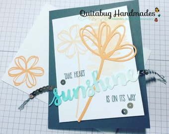 Stampin' Up! Watercolored Encouragement Card/Thinking of You Card/Friendship Card- Sunshine Sayings- Peach, Grey, & Aqua