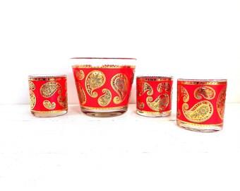 Vintage Culver Glass  Red Metallic Gold Paisley Pattern Barware Serving Set