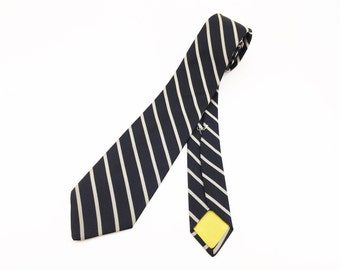 1960s-70s DIOR Silk Men's Skinny Necktie Vintage Blue Black & White Striped All Silk High Fashion Couture Tie by Christian Dior